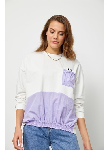 Setre Ekru-Lila Biisklet Yaka Color Block Sweatshirt Ekru